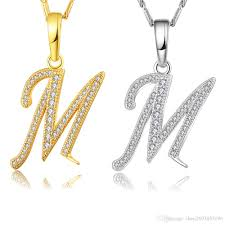 name jewelry necklace images Wholesale capital initial m letter necklace for women silver gold jpg