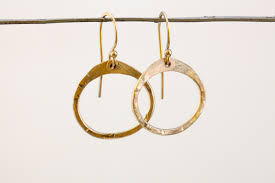 gold circle earrings simple zen circle small drop hoop earrings hammered gold