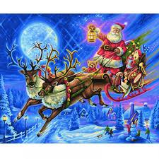 premium painting by numbers santa reindeer sleigh schipper