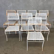 white vintage patio table chairs urbanamericana