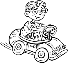 colouring page of a small boy driving a toy car coloring point