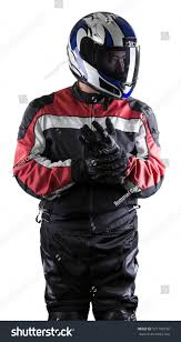 man wearing protective leather textile racing stock photo