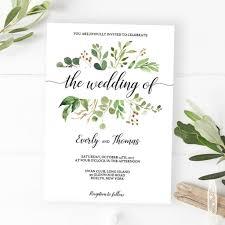 Wedding Invitations Long Island Green Leaves Watercolor Wedding Invitation Template Download