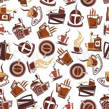 coffee shop background design brown coffee seamless pattern of cups of fresh brewed coffee retro
