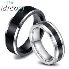 wedding bands for couples two tone tungsten wedding bands set for women men white black