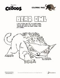 bear owl the croods coloring pages hellokids com