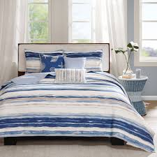 Nautical Bedspreads Seashell Bedding Coral Blue 3pc King Quilt Set Seashell Beach