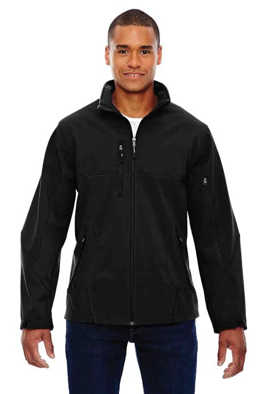 North End 88156 Compass Colorblock Three-Layer Fleece Bonded Soft Shell Jacket in Black