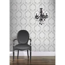 hb fw regency damask wallpaper silver at homebase be inspired