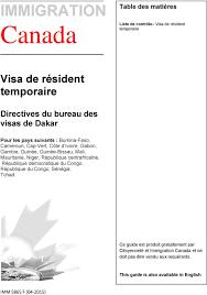 bureau des visas canada immigration canada visa de résident temporaire directives du