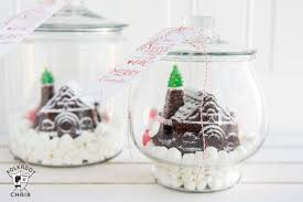 cute diy gingerbread house snow globes and free printable tags