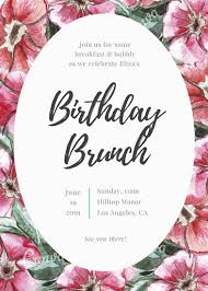 birthday brunch invitations floral birthday brunch invitation templates by canva
