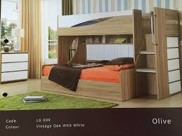 Olive SingleDouble Gas Lift Bunk Bed Only  Without Stairs - Single double bunk beds