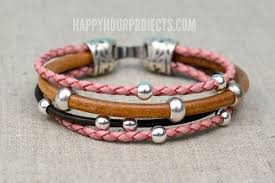 leather bracelet with beads images Easy beaded diy leather bracelet happy hour projects jpg