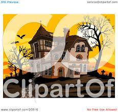 Halloween Flying Bats Clipart Picture Of A Haunted Spooky Halloween Mansion At Sunset