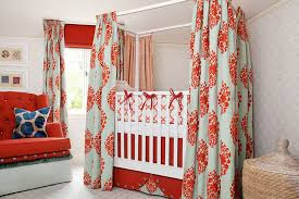 Orange Patterned Curtains Baby Nursery Bold Orange Nursery Features Tree With Owls And Birds