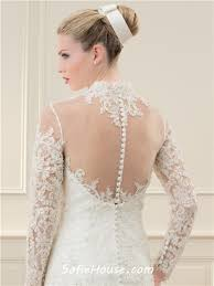 flared mermaid high neck see through long sleeve lace beaded