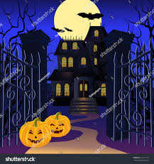 blue halloween background halloween background haunted house pumpkin vector stock vector