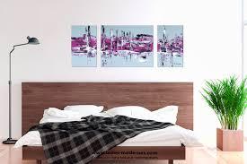 tableau pour chambre romantique tableau moderne triptyque abstrait gris violet rectangle