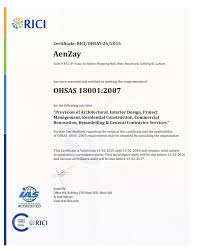 aenzay has obtained ohsas 18001 2007 certification for health