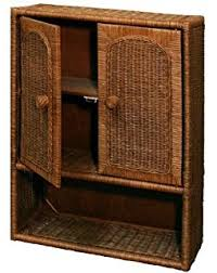 amazon com cottage solid wood and wicker bathroom wall shelf or