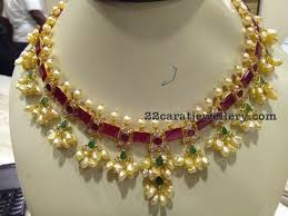 pearl ruby necklace images Ruby rice pearls choker jewellery designs JPG
