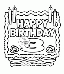 happy 3rd birthday card coloring page for kids holiday coloring