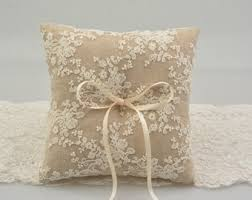 ring pillow wedding ring pillow alternative ring box lace bearer rustic chic