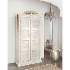 Deco Chambre Shabby Armoire En Manguier Blanche Effet Vieilli L 90 Cm Taj Maisons Du