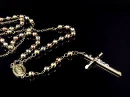 rosary necklace 10k gold tri color diamond cut 5 mm rosary necklace chain 26
