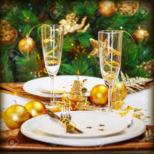 image of christmas dinner in restaurant christmastime table