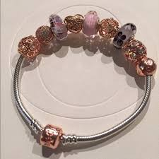 rose bracelet charm images Pandora test product rose gold dipped silver twelve charms and a jpg