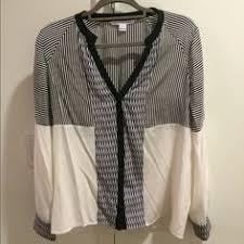 dvf 2 silk shirt cream black button blouse work black button