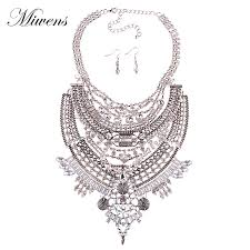 necklace earrings chain images Miwensnew design vintage necklace earrings set metal chain crystal jpg