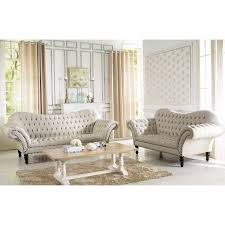 All White Living Room Set Baxton Studio Bostwick Beige Linen Classic Victorian Sofa Set By