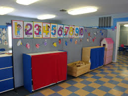 daycare learning center uses portable walls to divide space