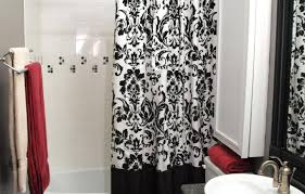Red Black Shower Curtain Curtains Enjoyable Red Black Cream Curtains Fabulous Red And