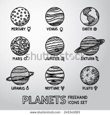 set of hand drawn planet icons with names and astronomical symbols