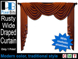 Rust Colored Curtains Second Life Marketplace Fabulous Wide Draped Curtain Rust
