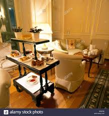 1990s interior design sitting room with afternoon tea in hyde park hotel 1990s london