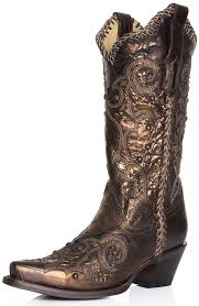 boots womens studded whip stitch cowboy boots bronze