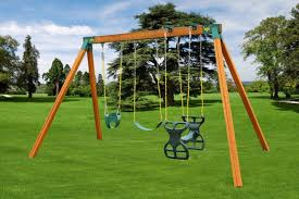 wooden swing set with wood roof and monkey bars backyard sets