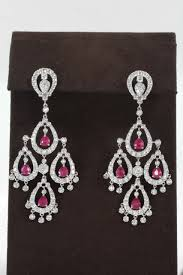 diamond chandelier earrings ruby diamond chandelier earring for sale at 1stdibs