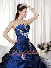 navy blue ball gown strapless taffeta appliques prom dress 168 69
