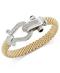 bracelet mesh silver sterling images Lyst macy 39 s diamond horseshoe clasp mesh bracelet 5 8 ct t w jpeg