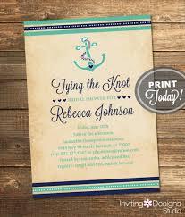 nautical bridal shower invitations nautical bridal shower invitation tying the knot anchor navy