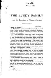 the lundy family and their descendants of whatsoever surname with