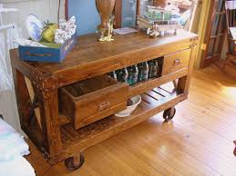 reclaimed wood movable kitchen island with drawers and open