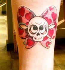 girly skull bow tatttoo designs