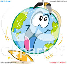 Clipart Of A Cartoon Excited Desk Globe Character Royalty Free